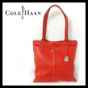 Cole Haan Red Leather Tote Bag